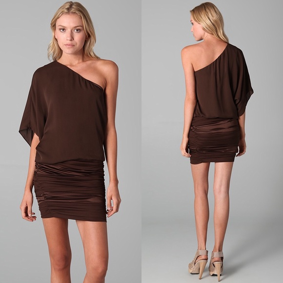 f288d311fbd2  Alice +Olivia  Russo One Shoulder Dress Chocolate